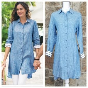 Soft Surroundings M MEDIUM Linen Tunic Dress 28853